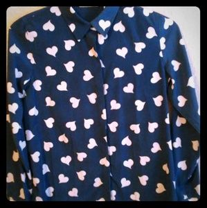 💙LC Lauren Conrad💙 Blue and White Heart Blouse.